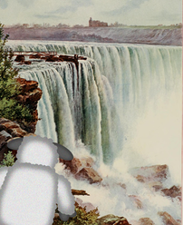 Picture of a waterfall with Looky Lamb